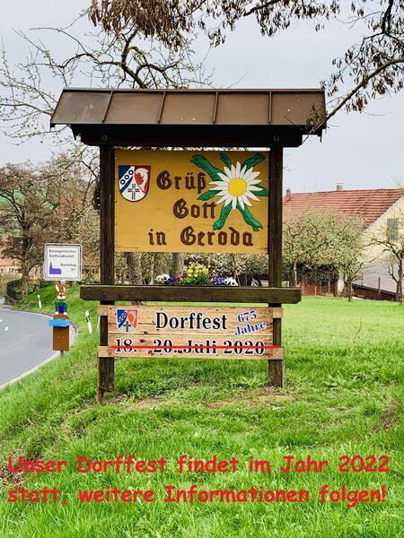 Geroda Dorffest 2020 abgesagt